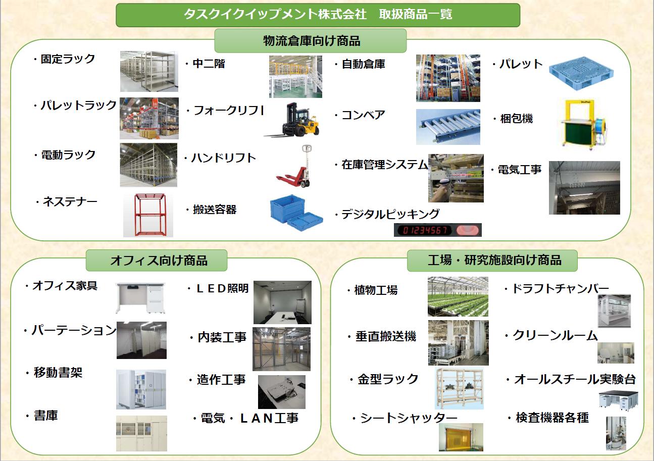 タスクイクイップメントが取り扱える商品について。